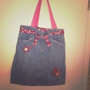Handmade denim skirt tote bag